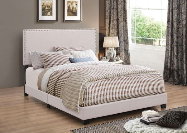 QUEEN BED IVORY FABRIC