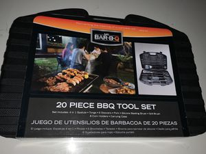 Mr. Bar-B-Q 20-piece BBQ grill tool set BRAND NEW tongs, fork, brushes, 6 skewers for Sale in Vista, CA
