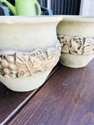 Three Soft Green Ceramic Grapevine Planter Pots with Gold Highlights for Sale in Miami, FL