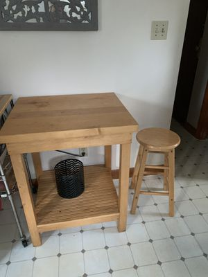 Butcher block with two matching stools for Sale in Quincy, MA