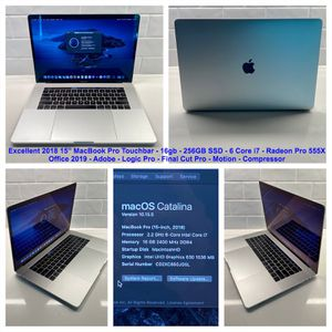 "Excellent 2018 Apple 15"" MacBook Pro Touchbar, 16gb, 256gb, Office 2019, Logic, FCP for Sale in Nashville, TN"