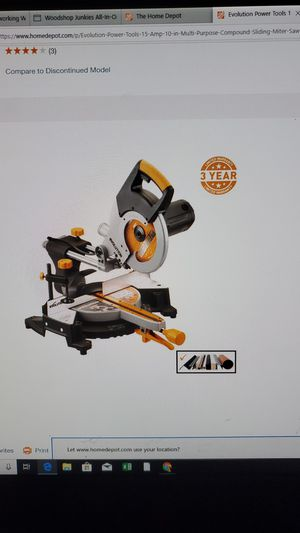 Evolution Power Tools 15 Amp 10 in. Multi-Purpose Compound Sliding Miter Saw for Sale in Southwest Ranches, FL