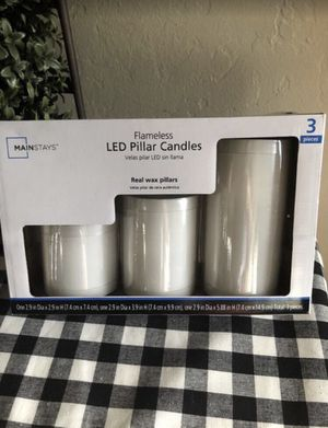 3 LED Pilar Real Wax Candles with Timer for Sale in San Bernardino, CA
