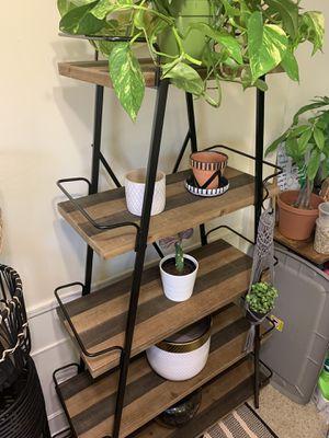 Display shelf Bookshelf shelves wood black rustic industrial for Sale in Burbank, CA