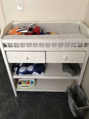 Baby wicker/wood changing table with 2 drawers and additional storage. for Sale in East Brookfield, MA