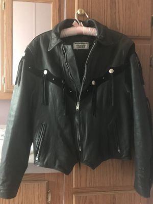 Women' Black Leather Fringe Jacket for Sale in Denver, CO