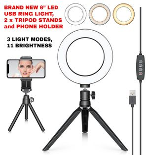 6'' USB LED Ring, 2 x Tripods & Phone Holder - New for Sale in Las Vegas, NV