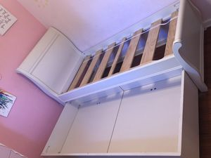 Girls twin bedroom set (bed with trundle) night stand, a Barbie dresser and mattress for Sale in San Jose, CA