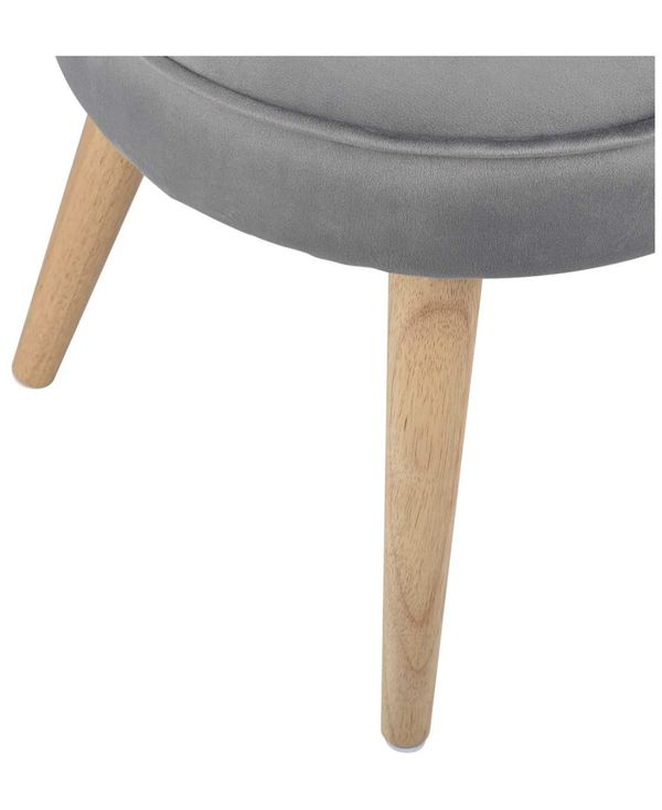 Ottoman Stool Velvet Side Table Seat, Makeup Dressing Stool with Wooden Legs for Living Room, Bedroom, Small Space Room, Office (Grey)