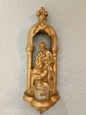 Gilded Holy Family Wall Sconce for Sale in Crandall, TX
