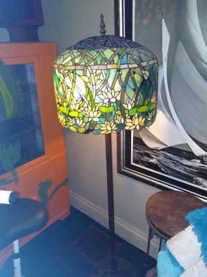 Beautiful Tiffany style real stained glass floor lamp called the lotus flowering lamp for Sale in Elizabeth, PA