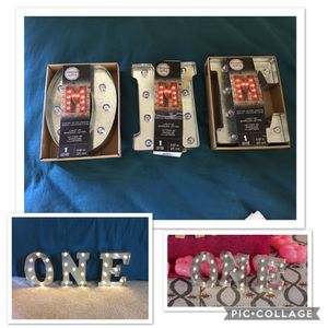 """1st birthday party decor Silver Metal Marqee Letters Darice 5914 (O N E) 9.875"""" for Sale in Bristow, VA"""