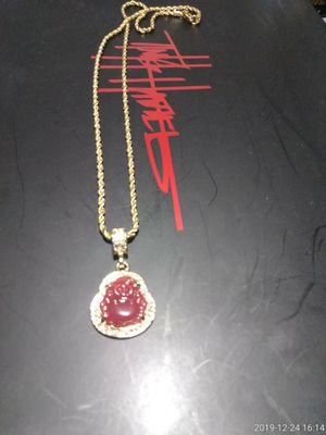GOLD FILLED RED BUDDA PENDANT AND CHAIN for Sale in Houston, TX