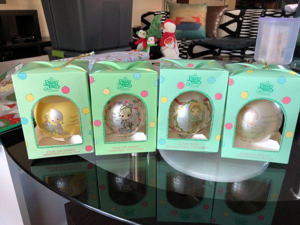 Precious Moments Christmas Ornaments-Set of 4