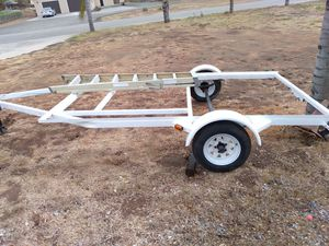 "15'flat bed trailer 7'4"" wide x 10' long needs wood deck ,new tires new wiring new lights ,pinkslip, plates, new paint job, $ 750. FIRM for Sale in Lakeside, CA"
