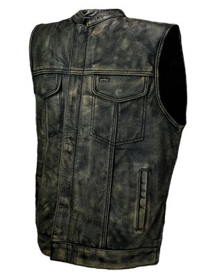 Distressed Grey Men Motorcycle Leather Racing Vest All Sizes for Sale in Austin, TX