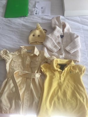 Gently used baby clothes, baby gap giraffe knit hat, knit sweater 3m, Jcrew cuts 2t shirt dress, Ralph Lauren 12m polo shirt for Sale in New York, NY