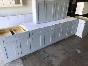 Gray Shaker Kitchen Cabinets Leftover Set for Sale in St. Louis, MO