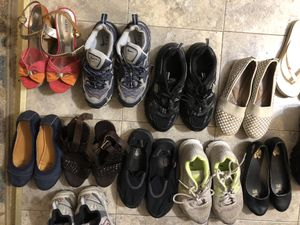 Shoes sale must of them are girls size 6and 7 one snow boots are mans in size 8 buy one for$5 or more than one $3 each all used in good shape for Sale in Yalesville, CT