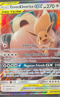 Eevee And Snorlax Tag Team Card for Sale in Grandview,  WA