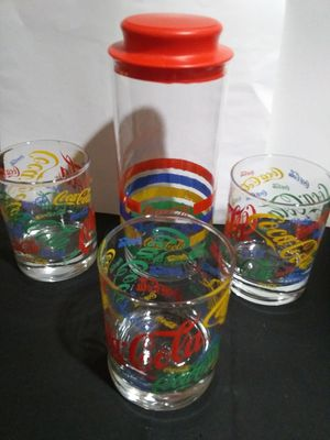 Lot of Coca-Cola glasses and straw caddy for Sale in San Angelo, TX
