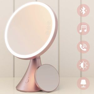 Brand new Lighted Vanity Mirror, 9 Inch Led Makeup Mirror with 5X Magnification, Adjustable Color Temperature & Brightness, Bluetooth Speakerphone Al for Sale in Arnold, MO