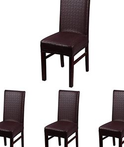 100% Leather PU Chair Seat Covers Splipcovers Waterproof and Oilproof for Dining Room Chairs Decorate (4, Brown) for Sale in Jurupa Valley,  CA