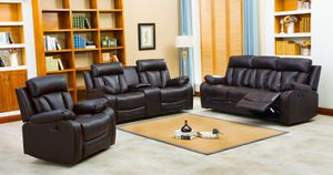 Naples BLACK Reclining Sofa, Loveseat and Chair $999. SAME DAY DELIVERY for Sale in Tampa, FL