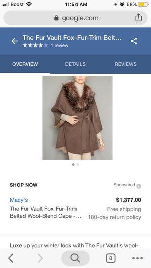"29"" woolblend cape, dyed fox shawl collar, short sleeve w/belt(real fur) for Sale in Las Vegas, NV"