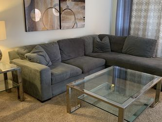 Z Gallerie Gary/Blue Microfiber L-shaped Sectional for Sale in Houston,  TX