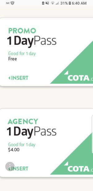 Cota day pass for Sale in Columbus, OH
