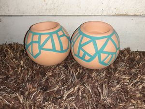 PAIR of Terracotta/teal pot candle holders! for Sale in Mesa, AZ
