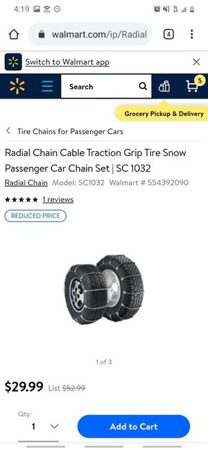 Radial Chain Cable Traction Grip Tire Snow Passenger Car Chain Set | SC 1032 for Sale in Buttonwillow, CA