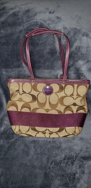 Coach Medium Sized Purse Tan with Purple Trim for Sale in Houston, TX