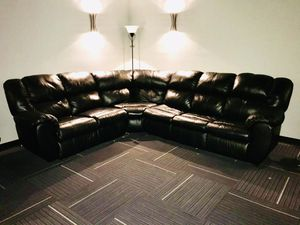 Black Leather Sectional with 2 Recliners and Sleeper for Sale in Fuquay-Varina, NC