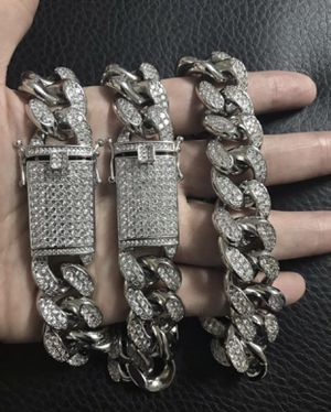 New 18 k white gold Cuban link chain and bracelet for Sale in Sunrise, FL