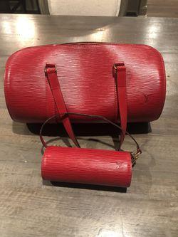 Louis Vuitton Red Epi Leather Soufflot Bag & Wristlet for Sale in Murrieta,  CA