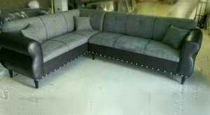 NEW 7X9FT DOMINO BLACK FABRIC SECTIONAL COUCHES for Sale in Gardena, CA