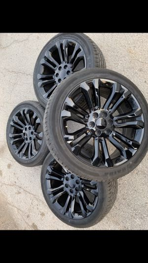 "New 22"" Black rims and New Tires ! 6 Lug Wheels will fit Chevrolet Silverado Tahoe Avalanche GMC Sierra Yukon suburban Denali Cadillac Escalade for Sale in Dallas, TX"