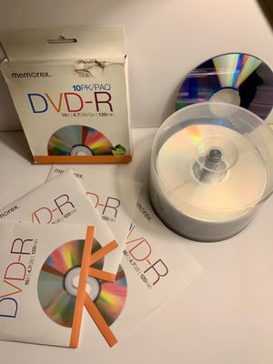 Memorex DVD-R Total of 36 new discs on Spindle 16x 4.7GB 120 Min & 10 Pack DVD-RW for Sale in Riverside, CA