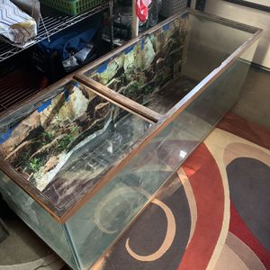 6' X 2'5 X 2' Large Fish Tank With Built Stand ( Hood missing / Mirror on stand damaged) for Sale in Chesapeake, VA