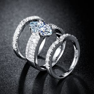 Sparkling 3 Pieces Marquise Cut Simulated Diamond 14K White Gold Bridal Ring Set Size 7 for Sale in Phoenix, AZ