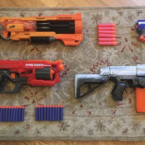 Nerf Gun Lot With Vagabond, Retaliator, Cycloneshock, And More for Sale in Los Angeles, CA