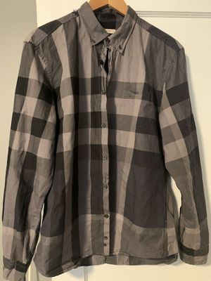 Men's Burberry black plaid button up size large for Sale in Middle River, MD