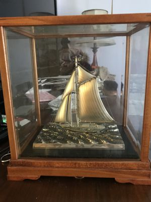 Gorham sailboat silver EP with wood case yacht nautical boat for Sale in Chicago, IL