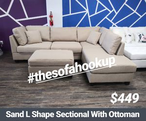 Visit Our Showroom 😁 We Finance - Sand Reversible Chaise Couch Sofa Sectional With Ottoman for Sale in Los Angeles, CA