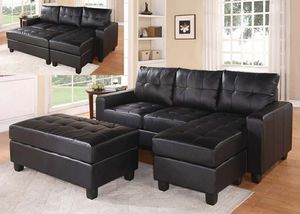 Black leather sofa sectional couch for Sale in Downey, CA