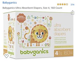 Babyganics Diapers Size 4- 160ct for Sale in Chantilly, VA