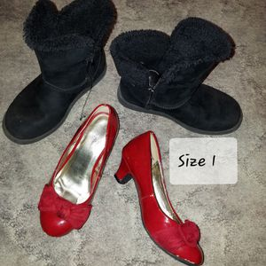Girls Size 9 - 1 Dress shoes, Rain Boots, Winter Boots, Shiny hi Top Sneakers And Slippers for Sale in Danvers, IL