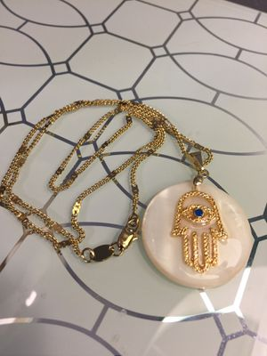 18k GPL Mother Of Pearl Pendant With Hand Of God for Sale in Nashville, TN
